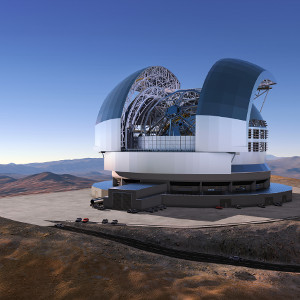 At a ceremony in Garching bei München, Germany on 25 May 2016, ESO signed the contract with the ACe Consortium, consisting of Astaldi, Cimolai and the nominated sub-contractor EIE Group for the dome and telescope structure of the European Extremely Large Telescope (E-ELT). This is the largest contract ever awarded by ESO and the largest ever contract in ground-based astronomy. At this occasion the construction design of the E-ELT was unveiled. This artist's rendering of the E-ELT is based on the detailed construction design for the telescope.